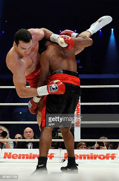 Ukrainian IBF and WBO heavyweight champion Vladimir Klitschko vies with US challenger Eddie Chambers during their heavyweight world championship...