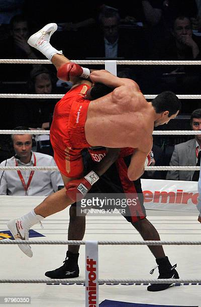 Ukrainian IBF WBO and IBO heavyweight champion Vladimir Klitschko vies with US challenger Eddie Chambers during their heavyweight world championship...