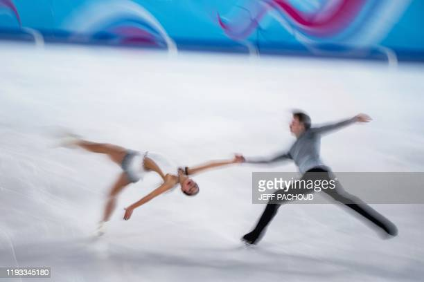 Ukrainian ice skaters Sofiia Nesterova and Artem Darenskyi compete during the Pair Skating Free Skating of the Lausanne 2020 Winter Youth Olympic...