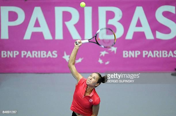 Ukrainian Kateryna Bondarenko returns a ball to Israeli tennis player Tsipora Obziler during their Fed Cup World Group II first round tennis match in...