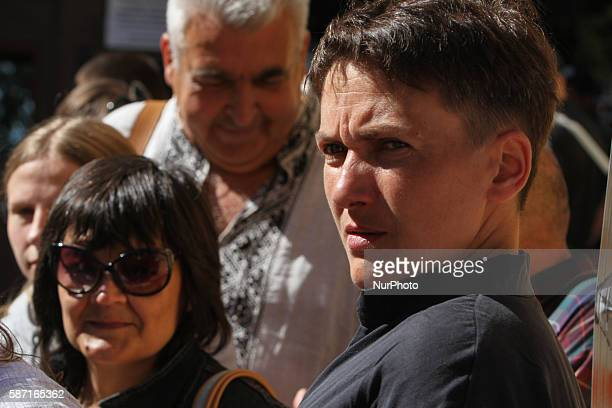 Ukrainian Lawmaker Nadia Savchenko as exPOW has a speech in front of the protesters in Kiev Ukraine on August 8 2016 Parents and relatives of...