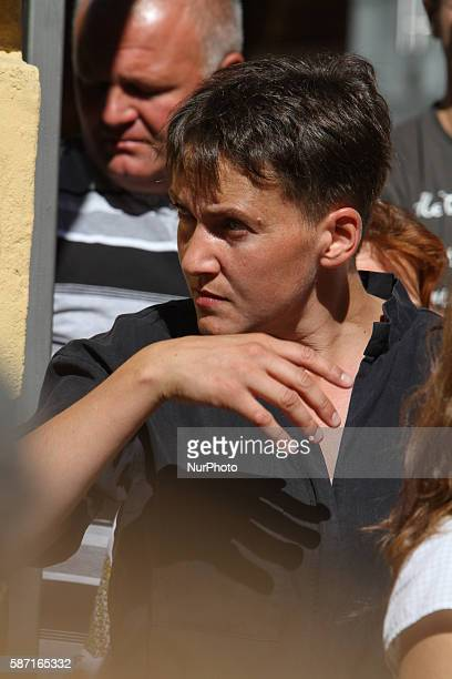 Ukrainian Lawmaker Nadia Savchenko as exPOW is seen participating a protest in Kiev Ukraine on August 8 2016 Parents and relatives of ukrainian...