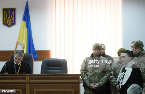 Ukrainian lawmaker Nadiya Savchenko speaks during a court hearing on a preventive punishment for her at a district court in Kiev Ukraine 23 March...