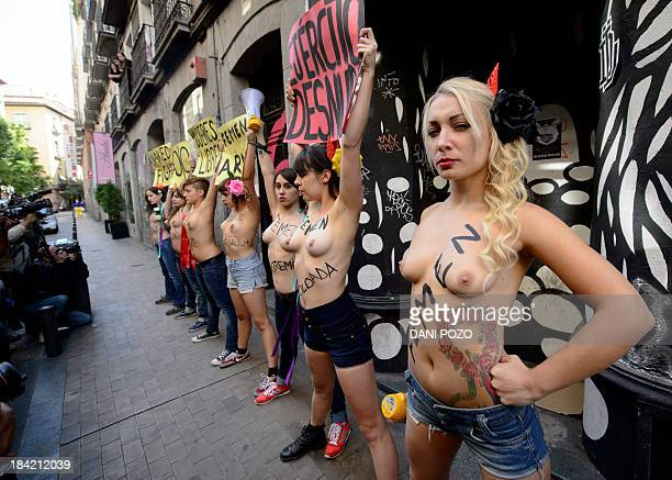Ukrainian leader of feminist movement Femen Inna Shevchenko poses during a march in Madrid on October 12 following the presentation of the second...