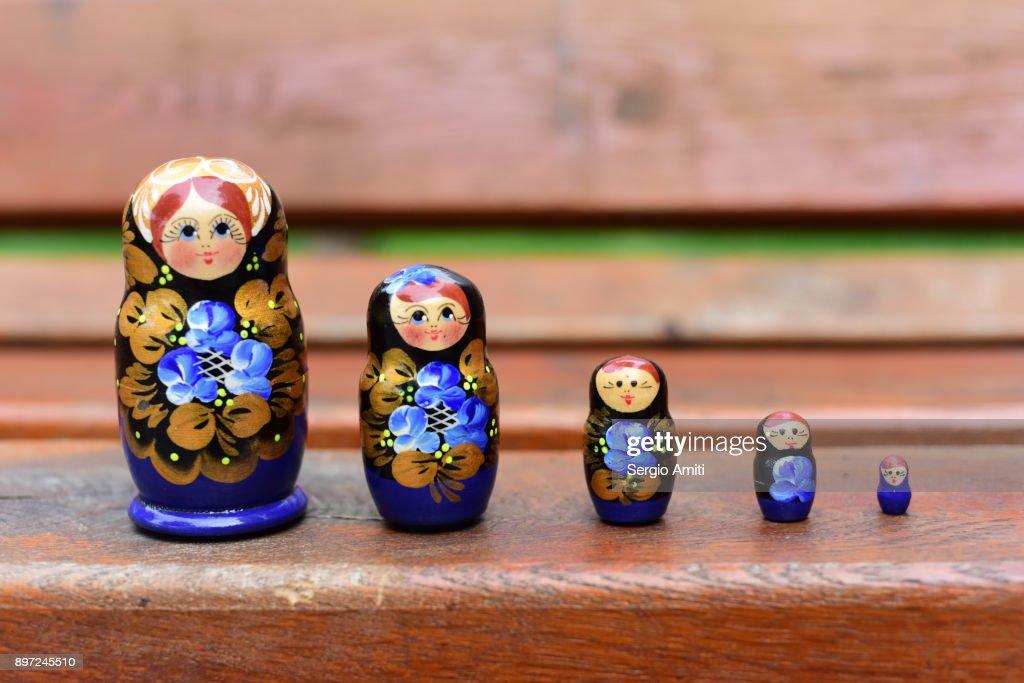 Ukrainian Matryoshka set in a row : Stock Photo