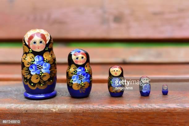 Ukrainian Matryoshka set in a row