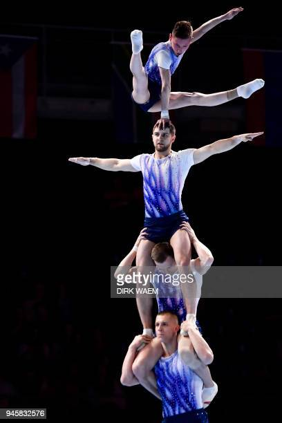 Ukrainian men's team Noam Patel Raj Bram Geusens Jonas Anthoon and Hannes Garre perform on the first day of the 26th edition of the World...