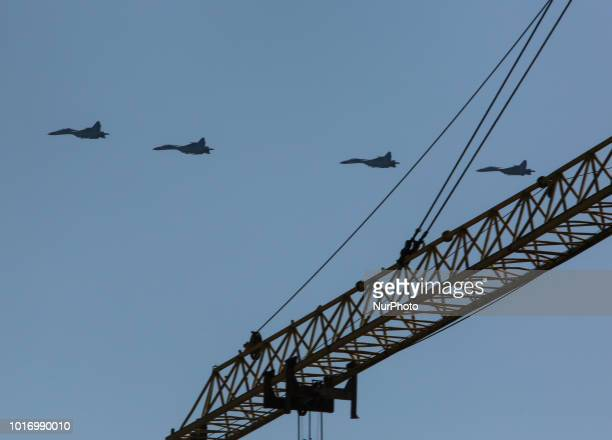 Ukrainian military aviation flies over Kyiv outskirts during the preparation for a parade to mark the 27Anniversary of State Independence in Kyiv...
