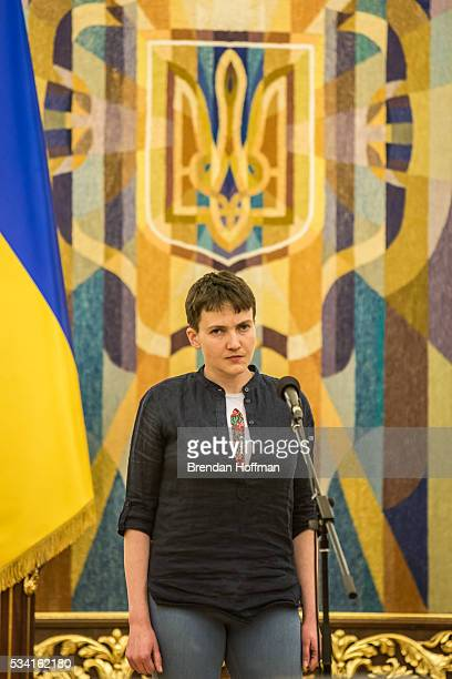 Ukrainian military pilot Nadiya Savchenko during an appearance to address the media along with Ukrainian president Petro Poroshenko at the...