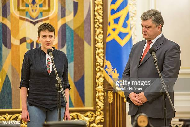 Ukrainian military pilot Nadiya Savchenko joins Ukrainian president Petro Poroshenko to address the media at the Presidential Administration building...