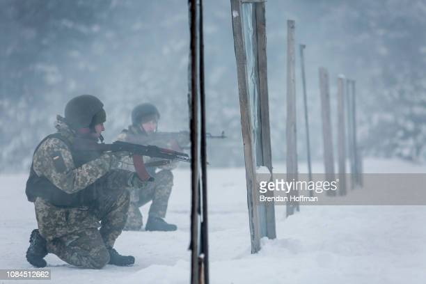 Ukrainian military reservists undergo training at the 169th Training Center Desna on December 19 2018 in Desna Ukraine After three Ukrainian naval...