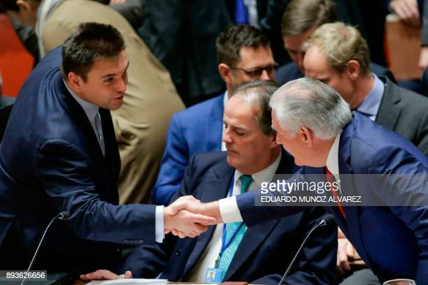 Ukrainian Minister of Foreign Affairs Pavlo Klimkin shakes hands with US Secretary of State Rex Tillerson as they attend the UN Security Council...
