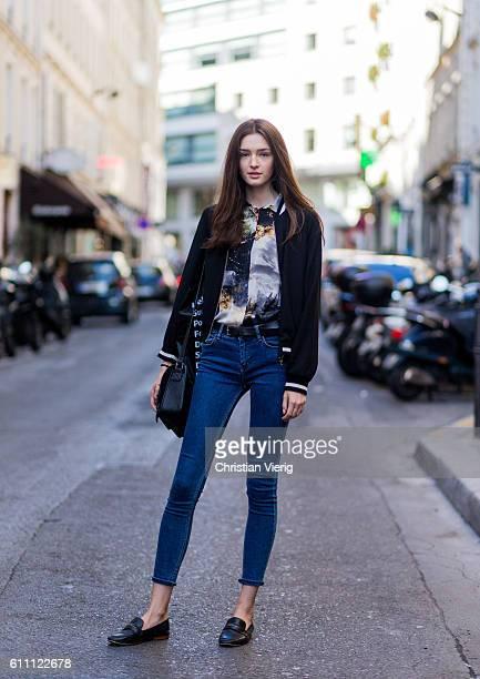 Ukrainian model Sandra Brinza wearing denim jeans on September 28 2016 in Paris France
