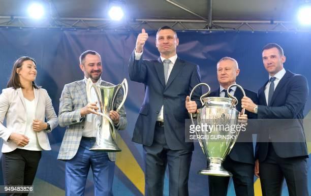 Ukrainian National football team forward Iya Andruschak the president of the Football Federation of Ukraine Andriy Pavelko the Mayor of Kiev and...