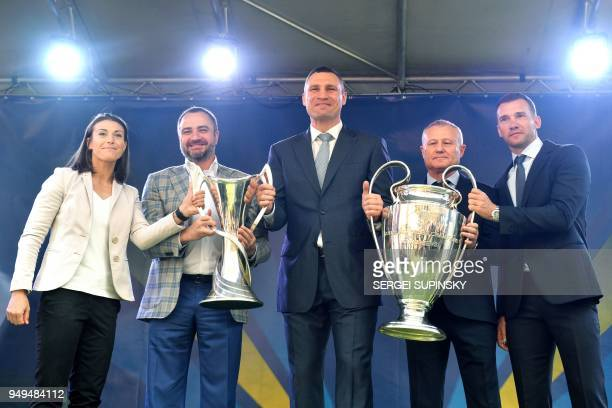 Ukrainian National football team forward Iya Andruschak the president of the Football Federation of Ukraine Andriy Pavelko the Mayor of Kiev and...