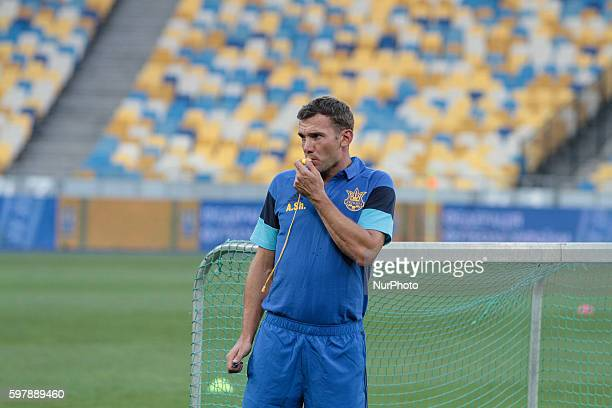 Ukrainian national soccer team's new head coach Andriy Shevchenko during training at NSC quotOlympiyskiyquot in Kyiv before the match against Iceland...