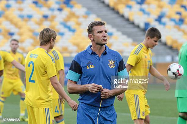 Ukrainian national soccer team's new head coach Andriy Shevchenko open training at NSC quotOlympiyskiyquot in Kyiv before the match against Iceland...