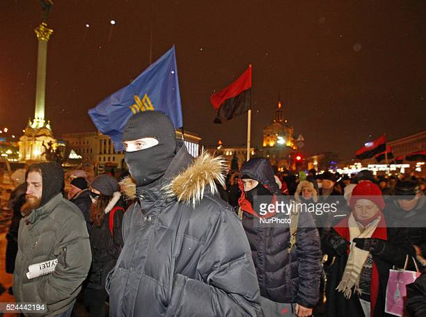 Ukrainian nationalists and their supporters in Kiev Ukraine on 19th January 2016 during quotThe March of winnersquot dedicated to the first day of...