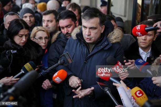 Ukrainian opposition figure and Georgian former President Mikheil Saakashvili talks to media in front of the Fairmont Grand Hotel in Kyiv Ukraine...