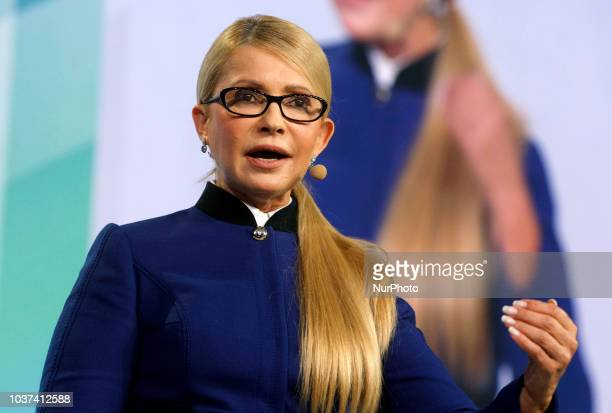 Ukrainian opposition leader Yulia Tymoshenko speaks during a presentation the program of economic development on a forum 'The New Economic Course of...