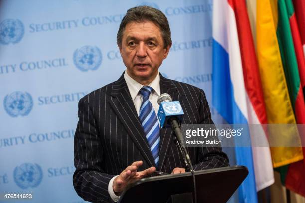 Ukrainian permanent respresentative to the United Nations Yuriy Sergeyev speaks to the media after a UN Security Council meeting on March 3 2014 in...