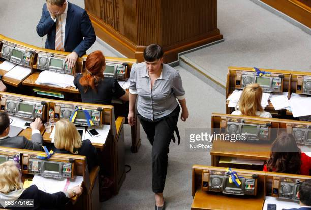 Ukrainian pilot and member of the Ukrainian parliament Nadia Savchenko during a session in Ukrainian Parliament Kiev Ukraine 16 May 2017