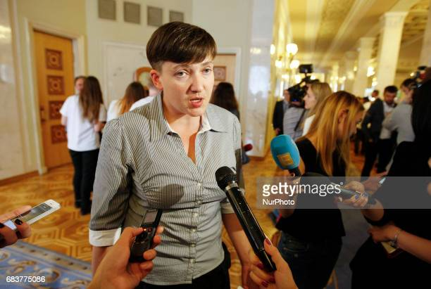 Ukrainian pilot and member of the Ukrainian parliament Nadia Savchenko speaks with journalists in Ukrainian Parliament Kiev Ukraine 16 May 2017