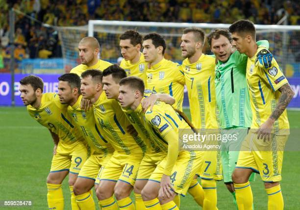 Ukrainian players pose for a photo ahead of the FIFA World Cup 2018 qualifying soccer match between Croatia and Ukraine at the Olympic stadium in...
