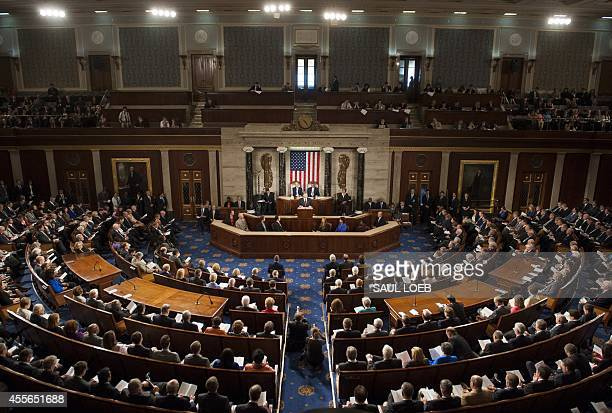 Ukrainian President Petro Poroshenko addresses a joint meeting of Congress at the US Capitol in Washington DC September 18 2014 Russia's annexation...