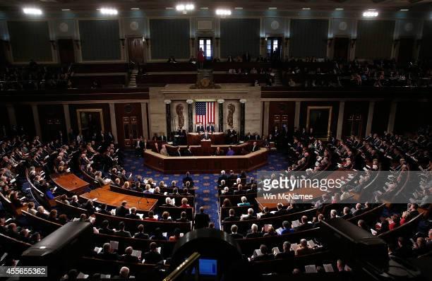 Ukrainian President Petro Poroshenko addresses a joint meeting of the US Congress September 18 2014 at the US Capitol in Washington DC Poroshenko is...