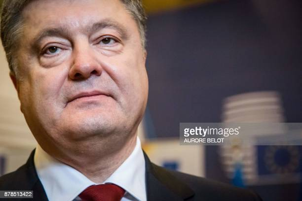 Ukrainian President Petro Poroshenko addresses the media at the end of the EU Eastern Partnership Summit in Brussels on November 24 2017 The EU...
