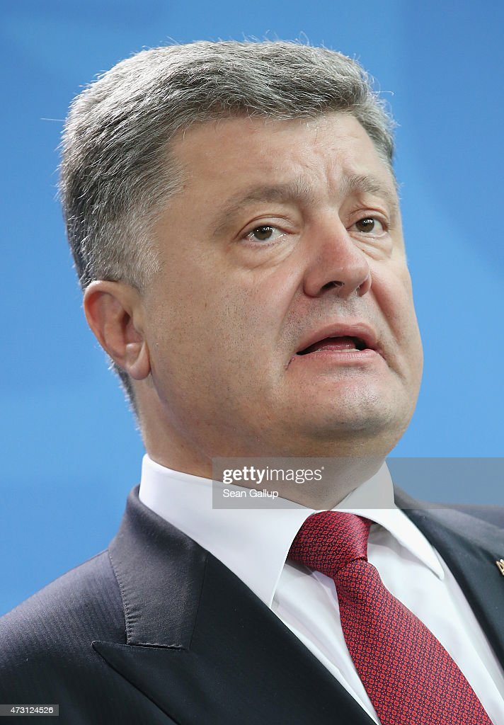 Ukrainian President Petro Poroshenko and German Chancellor Angela Merkel (not pictured) give statements to the media prior to talks at the Chancellery on May 13, 2015 in Berlin, Germany. The two leaders are meeting on the heels of a meeting between Russian President Vladimir Putin and U.S. Secretary of State John Kerry the day before in ongoing talks over the confict in the Donbas region of eastern Ukraine.