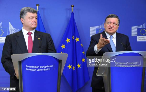 Ukrainian President Petro Poroshenko and President of the European Commission Jose Manuel Barroso hold a press conference in Brussels Belgium on...