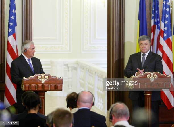 Ukrainian President Petro Poroshenko and US Secretary of State Rex Tillerson speaking during a joint media conference following their meeting in Kiev...
