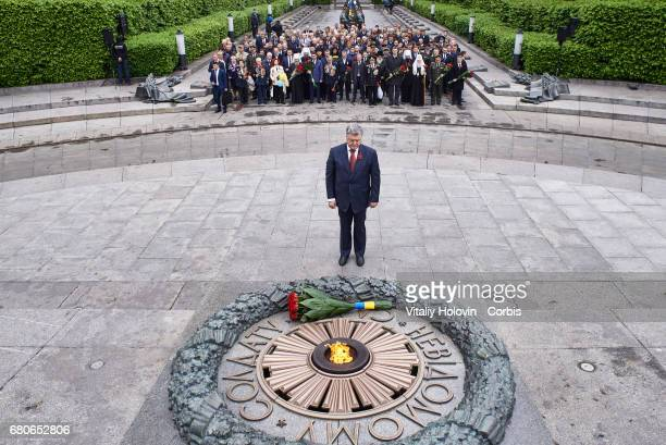 Ukrainian President Petro Poroshenko attends Victory Day celebrations in front of the Tomb of the Unknown Soldier on May 9 2017 in Kiev Ukraine Today...
