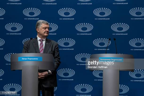 Ukrainian President Petro Poroshenko holds a news conference at Olympiskiy Stadium on April 14 2019 in Kiev Ukraine Zelenskiy a television comedian...