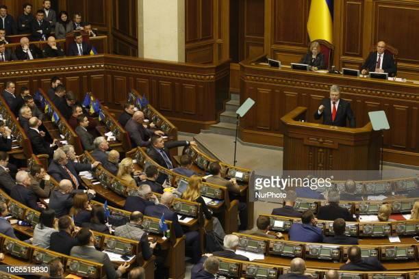 Ukrainian President Petro Poroshenko speaks during an extraordinary Parliament session in KievUkraine on 26 November 2018Ukrainian Parliament voted...
