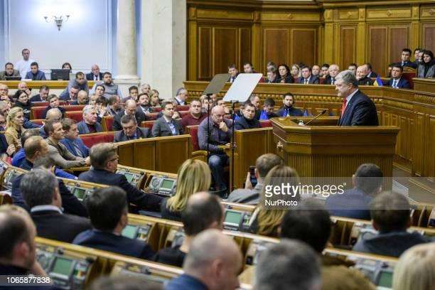 Ukrainian President Petro Poroshenko speaks during an extraordinary Parliament session in KyivUkraine on November 26 2018