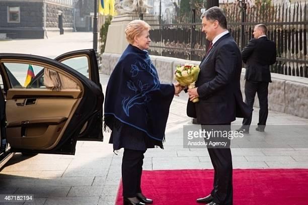 Ukrainian President Petro Poroshenko welcomes Lithuania's President Dalia Grybauskaite in Kiev, Ukraine, on March 21, 2015. Lithuania's President...