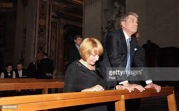 Ukrainian President Victor Yushchenko and his wife Kateryna Mykhailiva Yushchenko visit St. Peter's Basilica on June 1, 2009 in Vatican City.