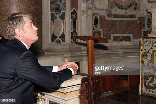 Ukrainian President Victor Yushchenko visits St Peter's Basilica on June 1, 2009 in Vatican City.
