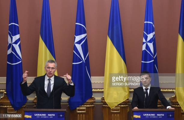 Ukrainian President Volodymyr Zelensky and NATO Secretary General Jens Stoltenberg hold a joint press conference following a meeting in Kiev on...