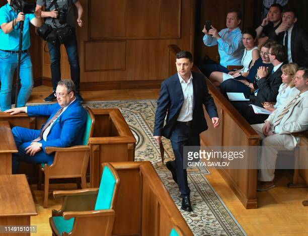 Ukrainian President Volodymyr Zelensky attends a session of the Constitutional Court in Kiev on June 11 2019 to defend his controversial decision to...