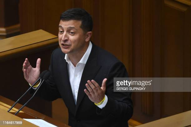 Ukrainian President Volodymyr Zelensky speaks during the first session of the new parliament in Kiev on August 29 2019 Ukrainian President is set to...