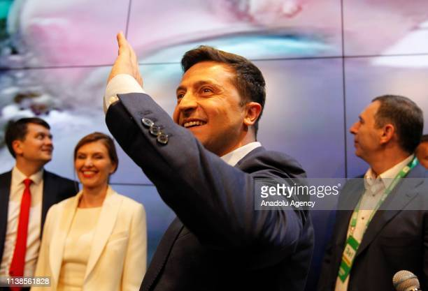 Ukrainian presidential candidate Volodymyr Zelenskiy is seen following the announcement of an exit poll in a presidential election at his campaign...