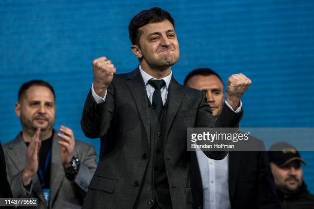 Ukrainian presidential candidate Volodymyr Zelenskiy reacts after a debate with President Petro O Poroshenko at Olympiskiy Stadium on April 19 2019...