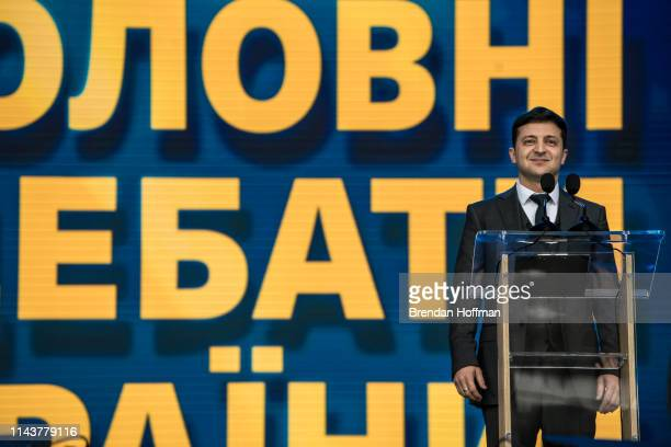 Ukrainian presidential candidate Volodymyr Zelenskiy stands on the stage ahead of a debate with President Petro O Poroshenko at Olympiskiy Stadium on...