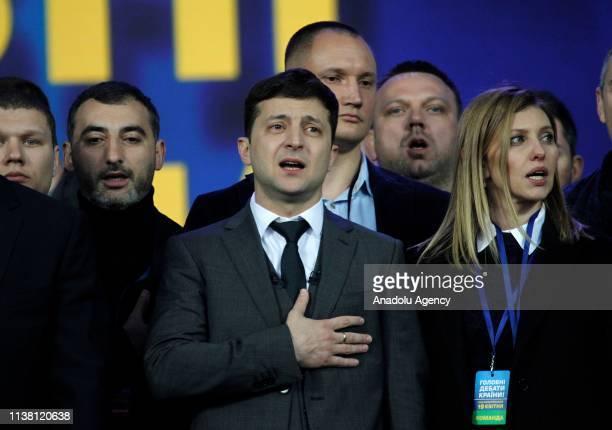 Ukrainian presidential candidate Volodymyr Zelensky attends a debate with Ukrainian President and presidential candidate Petro Poroshenko at the...