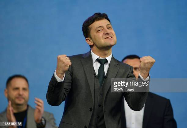 Ukrainian presidential candidate Volodymyr Zelensky seen reacting during their debate with Ukraine's President and presidential candidate Petro...