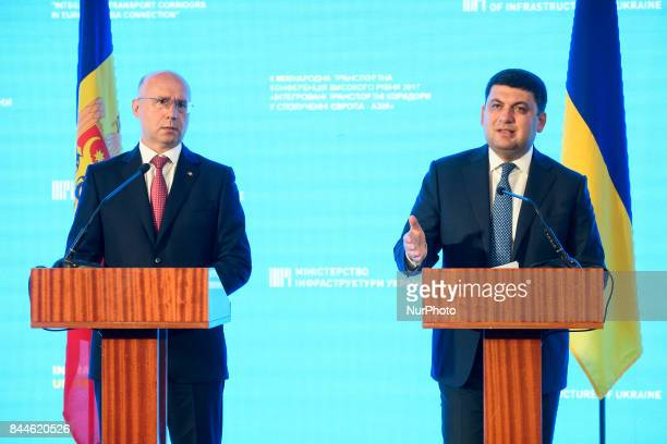 Ukrainian Prime Minister Volodymyr Groysman and his Moldovan counterpart Pavel Filip attend a conference dedicated to transport issues in Odesa...